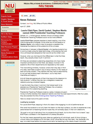 Presidential Teaching Professor Award - Press Release